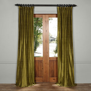 Paradise Green 108 x 50-Inch Textured Dupioni Silk Curtain