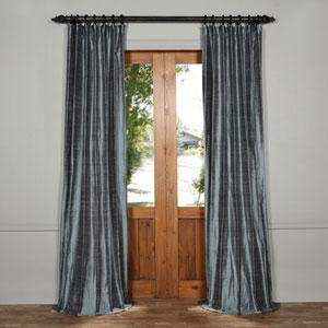 Mood Blue 84 x 50-Inch Textured Dupioni Silk Curtain