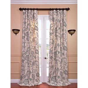 Sophie Multicolor 84 x 50-Inch Embroidered Cotton Crewel Curtain Single Panel