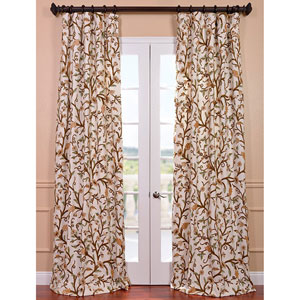Elise Multicolor 84 x 50-Inch Embroidered Cotton Crewel Curtain Single Panel
