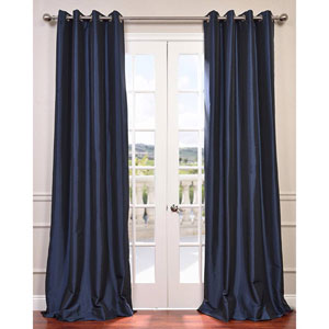 Navy Blue 120 x 50-Inch Grommet Blackout Faux Silk Taffeta Curtain Single Panel