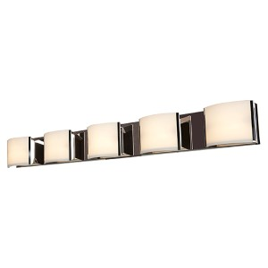 Nitro 2 Brushed Steel Five-Light 49-Inch Wide Bath Vanity Fixture