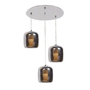 Dor Mirrored Stainless Steel LED Three-Light Cluster Pendant with Mirrored Stainless Steel Outer and  Smoked Amber Inner