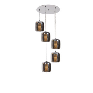 Dor Mirrored Stainless Steel LED Five-Light Cluster Pendant with Mirrored Stainless Steel Outer and  Smoked Amber Inner Glass