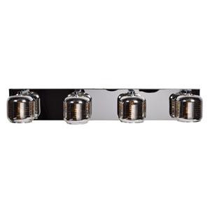 Dor Mirrored Stainless Steel LED Four-Light Bath Vanity with Mirrored Stainless Steel Outer and  Smoked Amber Inner Glass