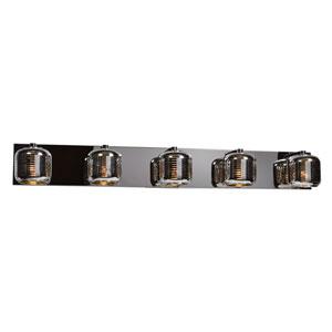 Dor Mirrored Stainless Steel LED Five-Light Bath Vanity with Mirrored Stainless Steel Outer and  Smoked Amber Inner Glass