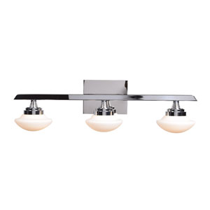 Atomiser Chrome LED Three-Light Bath Vanity with Opal Glass