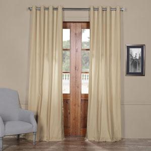 Beige Solid Cotton 84 x 50 In. Grommet Top Single Panel Curtain