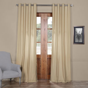 Beige Solid Cotton 96 x 50 In. Grommet Top Single Panel Curtain