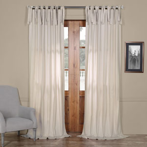 Light Beige Solid Cotton 108 x 50 In. Tie-Top Single Panel Curtain