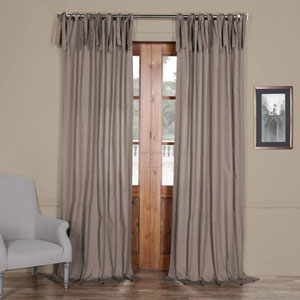 Stone Gray Solid Cotton 96 x 50 In. Tie-Top Single Panel Curtain