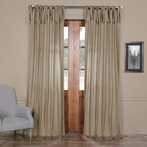Sand Solid Cotton 84 x 50 In. Tie-Top Single Panel Curtain