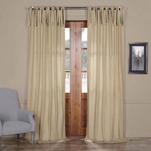 Beige Solid Cotton 96 x 50 In. Tie-Top Single Panel Curtain