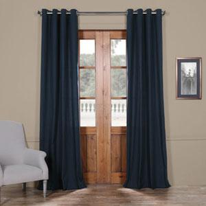Dark Navy Solid Cotton 96 x 50 In. Grommet Top Single Panel Curtain