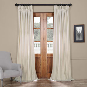 Light Beige Solid Cotton 96 x 50 In. Curtain Single Panel