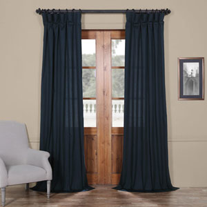 Dark Navy Solid Cotton 108 x 50 In. Curtain Single Panel