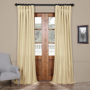 Beige Solid Cotton 84 x 50 In. Curtain Single Panel