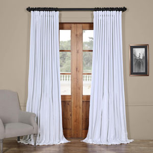 White Ice 96 x 100 In. Double Wide Vintage Textured Faux Dupioni Curtain Single Panel