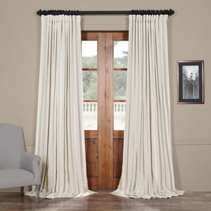Ivory 84 x 100 In. Blackout Double Wide Vintage Textured Faux Dupioni Curtain Single Panel
