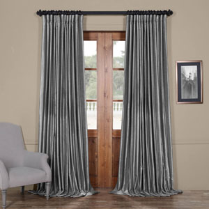 Grey 96 x 100 In. Blackout Double Wide Vintage Textured Faux Dupioni Curtain Single Panel