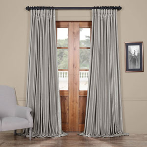 Silver 108 x 100 In. Blackout Double Wide Vintage Textured Faux Dupioni Curtain Single Panel