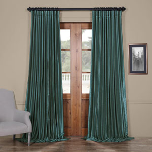 Vibrant Green 84 x 100 In. Blackout Double Wide Vintage Textured Faux Dupioni Curtain Single Panel