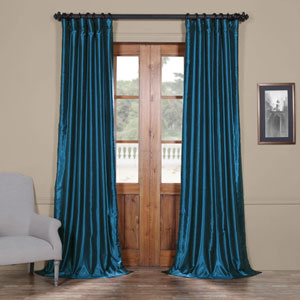 Ocean Blue 84 x 50 In. Vintage Textured Faux Dupioni Silk Curtain Single Panel