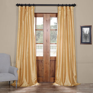 Light Gold 84 x 50 In. Faux Silk Taffeta Curtain Single Panel