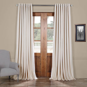 Ivory 120 x 100 In. Double Wide Grommet Blackout Velvet Curtain Single Panel