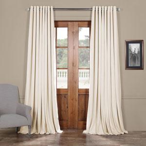 Off White 108 x 100 In. Double Wide Grommet Blackout Velvet Curtain Single Panel