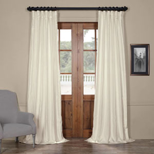 Translucent Cream Yarn Dyed 96 x 50 In. Faux Dupioni Silk Curtain Single Panel