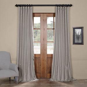 Grey Yarn Dyed Faux Dupioni Silk 96 x 50 In. Curtain Single Panel