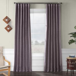 Faux Linen Blackout Purple 50 x 108 In. Curtain Single Panel