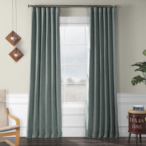 Faux Linen Blackout Green 50 x 120 In. Curtain Single Panel
