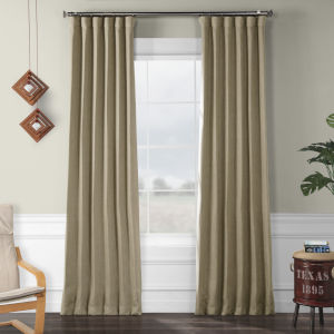 Faux Linen Blackout Beige 50 x 120 In. Curtain Single Panel