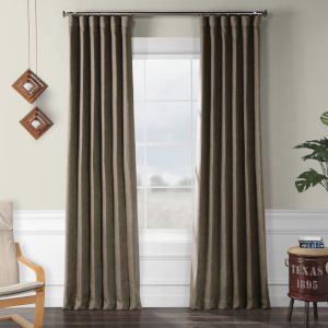 Faux Linen Blackout Brown 50 x 96 In. Curtain Single Panel