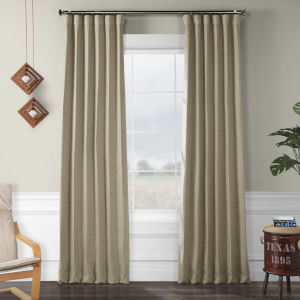 Faux Linen Blackout Beige 50 x 108 In. Curtain Single Panel
