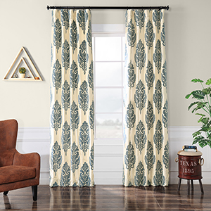Flocked Faux Silk Francesca Silver and Blue 96 x 50-Inch Curtain Single Panel