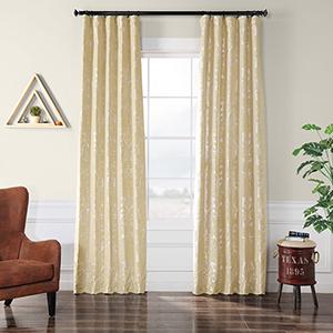 Flocked Faux Silk Gwendolyn Silver 84 x 50-Inch Curtain Single Panel