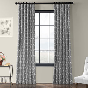 Gray 120 x 50 In. Printed Cotton Curtain Single Panel