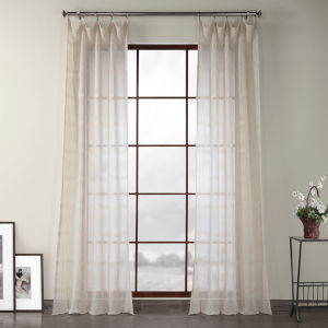 Polaris Beige Polyester 96 In L x 50 In W Single Panel Curtain