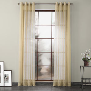 Grommet Solid Faux Linen Sheer Gold 50 x 96 In. Curtain Single Panel
