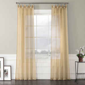Solid Faux Linen Sheer Gold 50 x 96 In. Curtain Single Panel