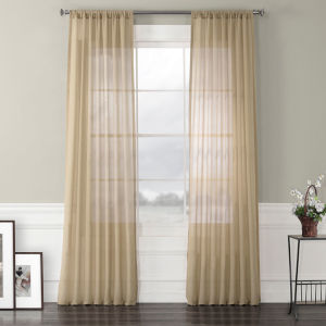 Faux Linen Sheer Beige 50 x 120 In. Curtain Single Panel