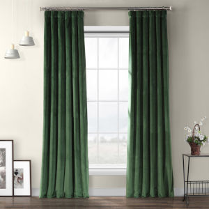 Heritage Green Polyester 108 In L x 50 In W Single Panel Curtain