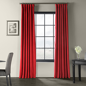 Signature Blackout Velvet Moroccan Red Curtain 50 x 84-Inch Single Panel