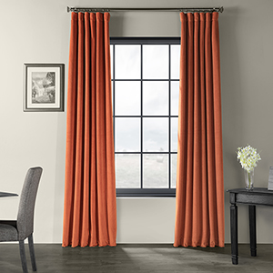 Signature Blackout Velvet Burnt Pumpkin 50 x 84-Inch Curtain Single Panel