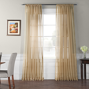 Soft Tan 120 x 100 In. Extra Wide Solid Voile Poly Sheer Curtain Single Panel