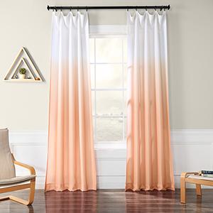 Ombre Faux Linen Semi Sheer Ombre Salmon 84 x 50-Inch Curtain Single Panel