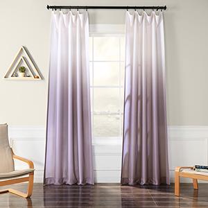 Ombre Faux Linen Semi Sheer Ombre Plum 96 x 50-Inch Curtain Single Panel
